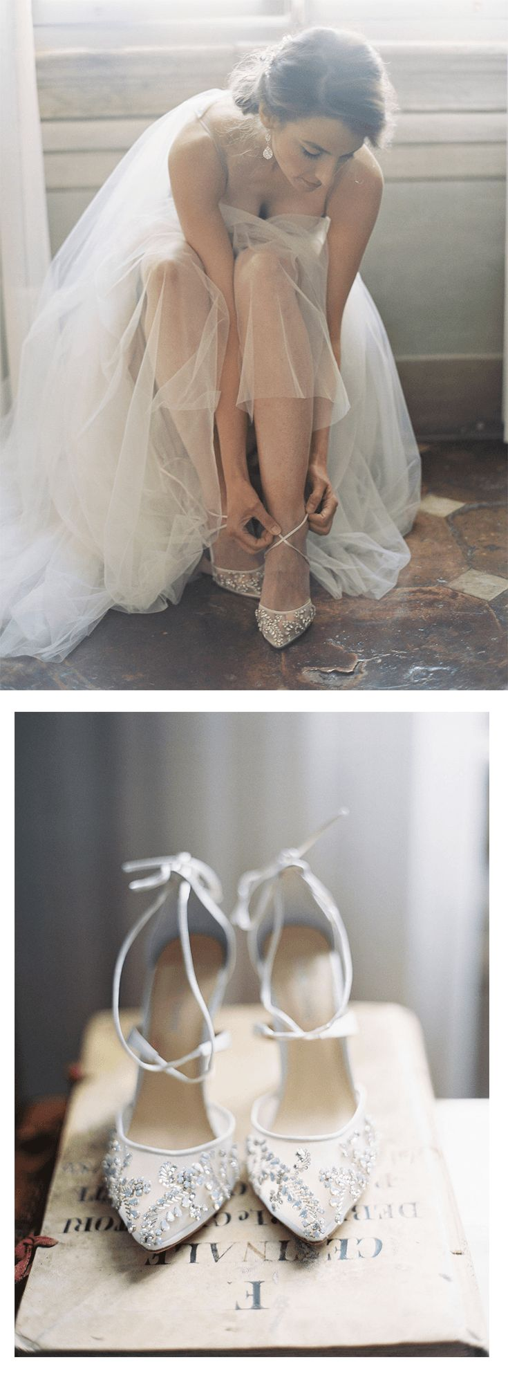 We love the way our Bella Belle crystal embroidered sparkly wedding shoes look on our #RealBride Elan. The gorgeous elegant and comfortable wedding heels is perfect for brides who are glamorous, vintage and want to look like Cinderella for their destination Italy wedding, matched perfectly with a tulle ballgown wedding dress with crystal beads and a heartshape neckline. Photography by Kurt Boomer