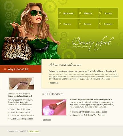 Beauty School Website Templates by Delta