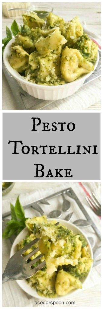 Pesto Tortellini Bake comes together in under 20 minutes and makes a quick weeknight meal packed with  flavor.// A Cedar Spoon