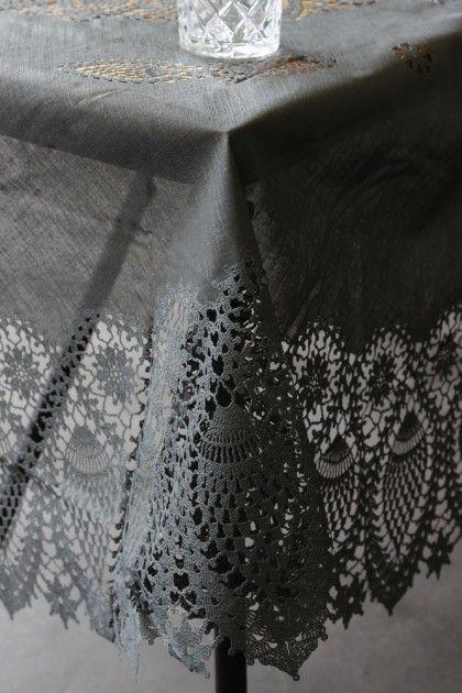 Outdoor Crochet Tablecloth - Black