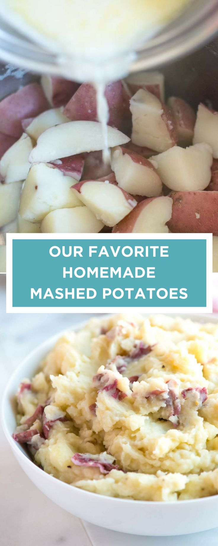 This is our favorite homemade mashed potatoes recipe (skin-on or peeled). Learn which potatoes to use and how to cook them so that they are creamy and delicious.