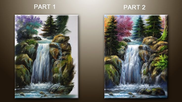 How To Paint Waterfall With Acrylics Lesson 2 Part 1