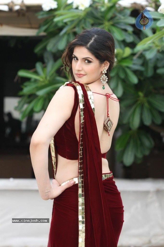 Zarine Khan Backless Photos, Zarine Khan In Red Saree