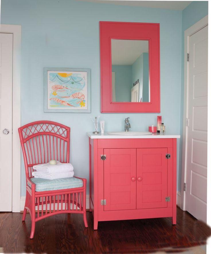 aqua and coral bathroom | Maine Cottage | Girls Bathrooms ...