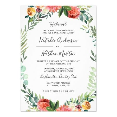 Watercolor Floral Wreath Frame Wedding Invitation - tap to personalize and get yours #wedding #invitation #weddingideas #weddinginspiration  #flower #floral #botanical #garden #outdoor #nature #romantic #editable