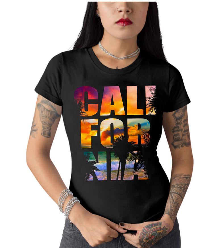 California Beach Sommer Design colorful T-Shirt Design