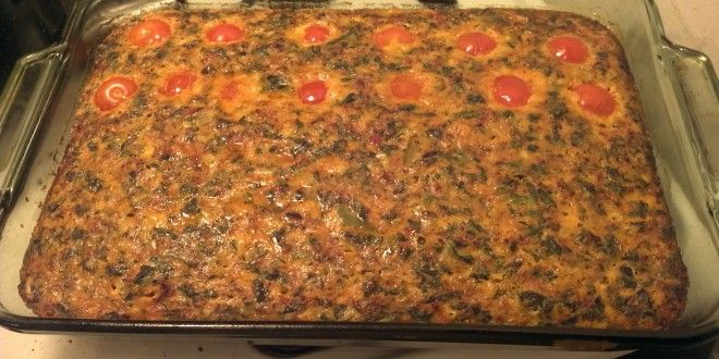 Caveman Keto's Chorizo Breakfast Casserole--I used breakfast sausage instead of chorizo, and then onions, bell pepper, and spinach for the veggies