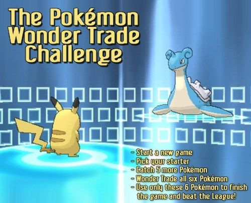 Pokemon wonder challenge! I've done 2 so far, they're really fun!! For my own personal challenge, I added the rule where if a pokemon faints, it can no longer be used and must be wondertraded. :)