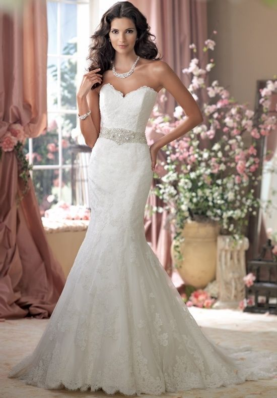 David Tutera for Mon Cheri Style: 114274 Size 0-26W Color Ivory, White Price $$ Silhouette Mermaid Neckline Sweetheart Train Style Attached Train Length Chapel Fabric Laces