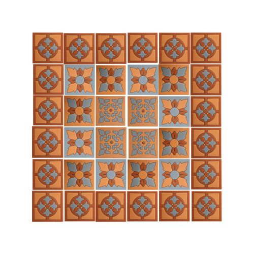 Mexican Style Mural - Craftsman Raised Relief Tile Mural: 36 Pieces