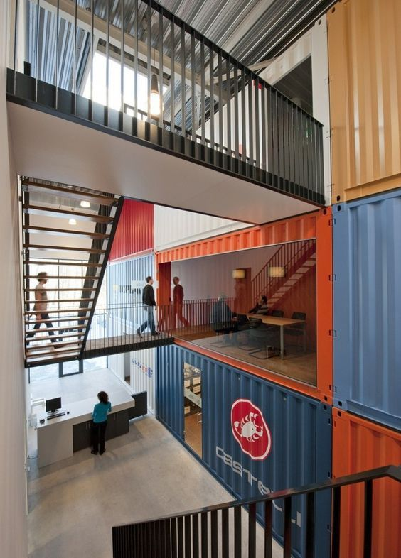Container office building in the Netherlands - complete with logos and bright colour scheme: