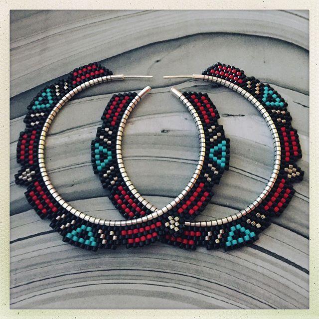 "New hoop pattern! These are the ""Dusk"" earrings. Brick stitch weaving on 2"" Sterling silver hoops. Final measurements are roughly 2.75""x2.75"" #beadedearrings #beadwork #offloom #beadedhoops #earrings #handwoven #statementearrings #beadedearrings #vancouverjewelry #yvrartist #slowfashionmovement #hoops #hoopearrings #beadedjewelryofinstagram"