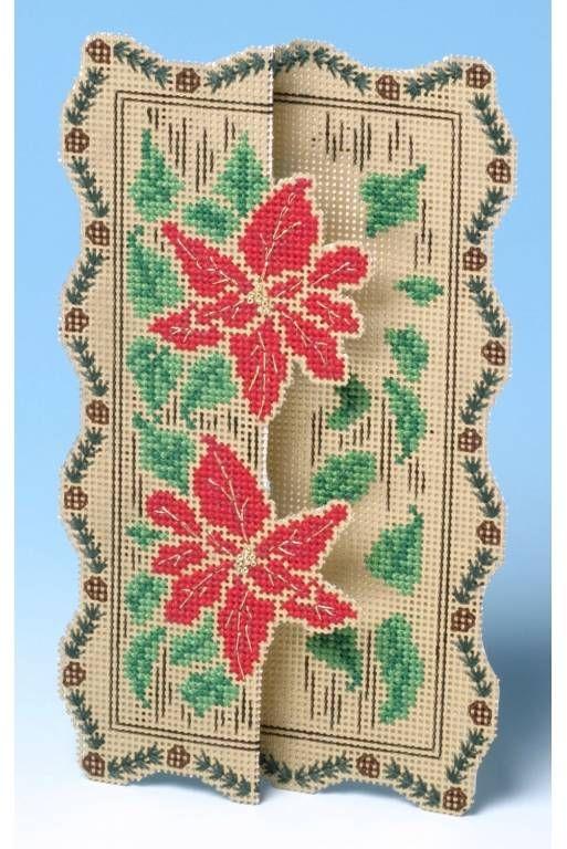 image of Poinsettia 3D Cross Stitch Card Kit