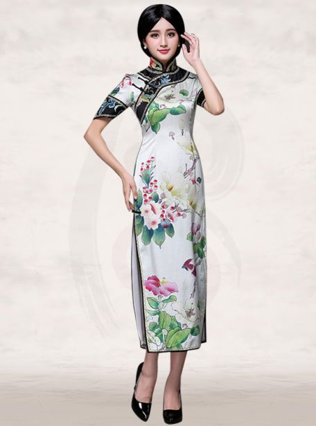 f92511c7e Chinese floral bird painting long white silk cheongsam dress | Class ...