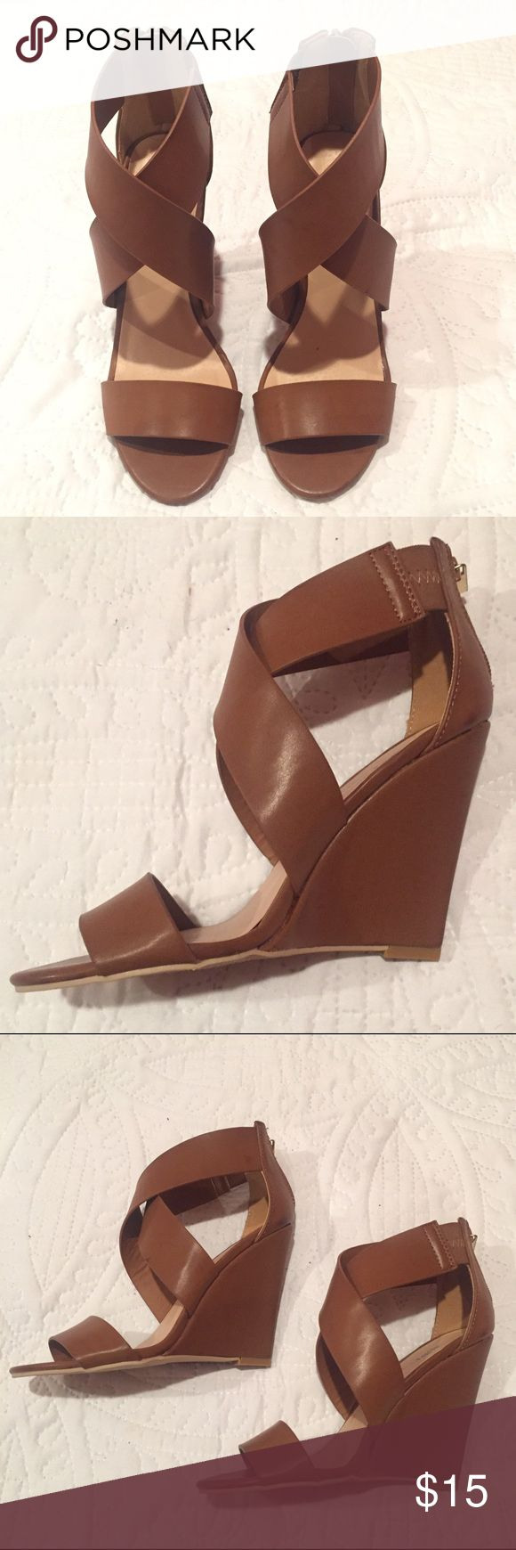 "Just Fab Tan Wedges Tan wedges buy Just Fab. Super cute wedges that will go great with a variety of outfits. These wedges have a 4"" heel and are a size 6. Very good condition, only worn once. JustFab Shoes"