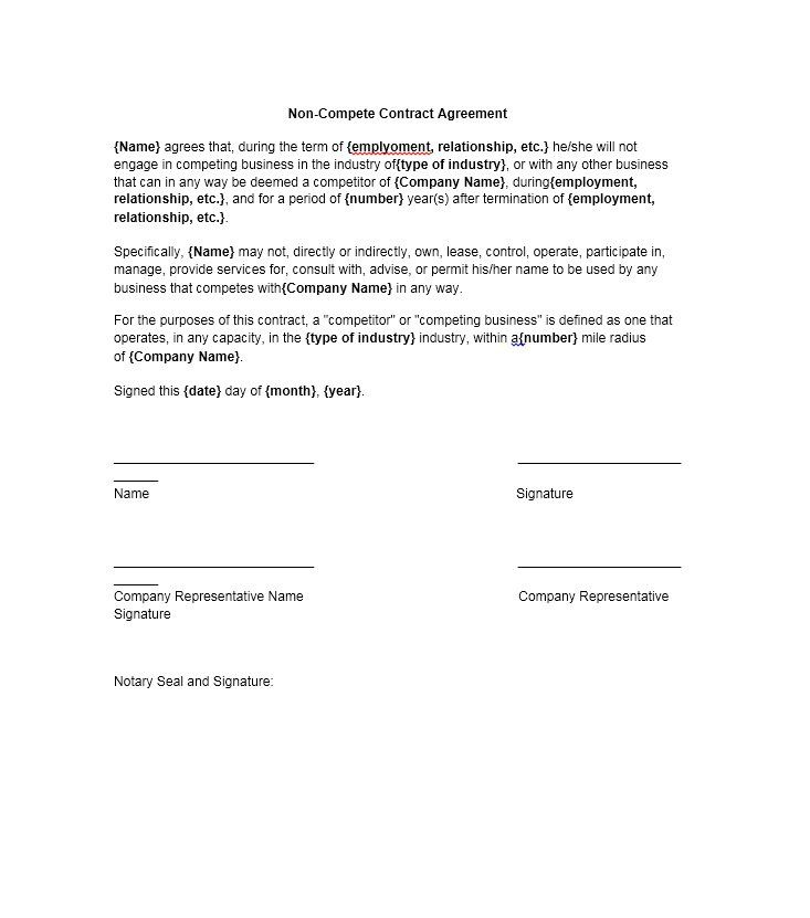 Non Compete Agreement Template Contract Template Contract