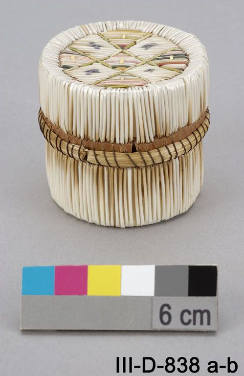 Porcupine quill and birch bark box, James Bay Cree. Canadian Museum of Civilization.