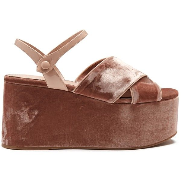 Miu Miu Crossover velvet flatform sandals (4,735 CNY) ❤ liked on Polyvore featuring shoes, sandals, nude, wide fit shoes, wide fit sandals, strap sandals, nude strappy shoes and velvet sandals
