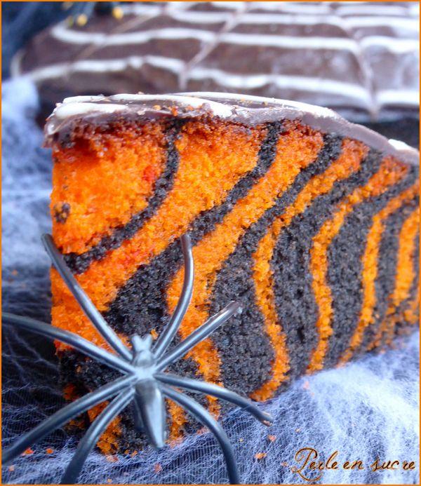 Gâteau d'Halloween facile (zebra cake)