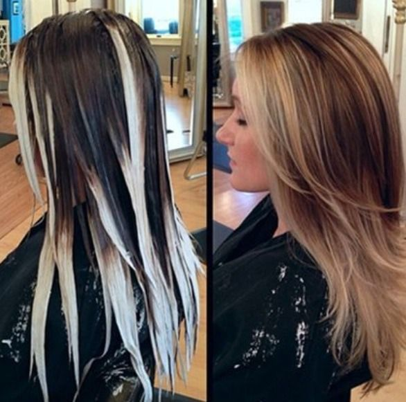 Balayage-type ombré: Where and how to apply bleach (freestyle and asymmetrical bleach application).