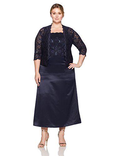 64976d44a13d6 Alex Evenings Womens Plus Size Long a-Line Mock Dress with Open Jacket