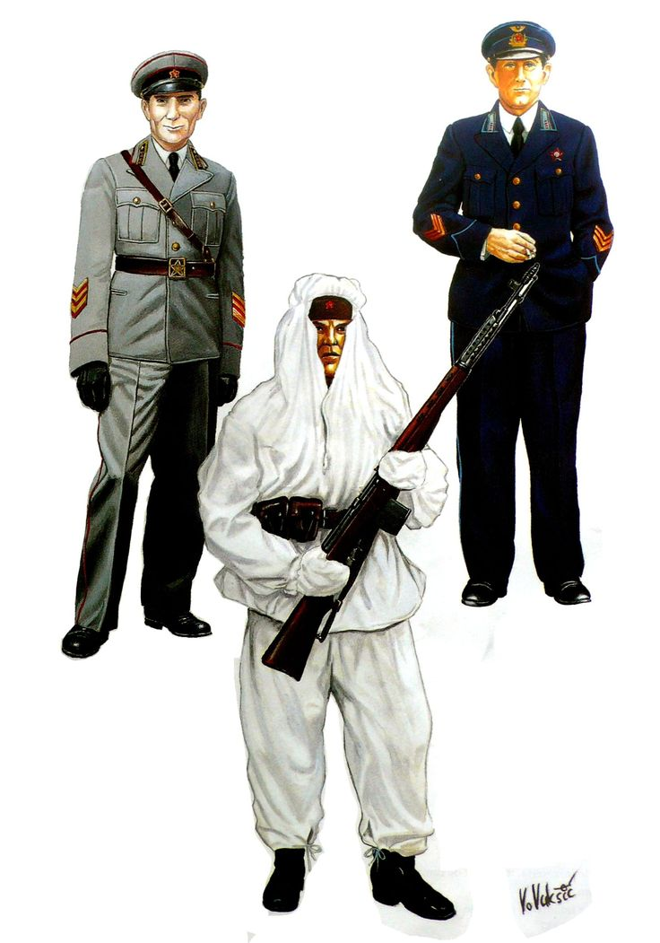 ARMATA ROSSA - Da sinistra : Comandante di Truppa Meccanizzata, 1941 - Soldato di Fanteria delle truppe Sciatrici in tenuta invernale, 1942 - Colonnello della Aviazione Sovietica, 1941