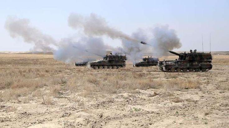 """60 target ISIS hancur di Suriah utara  DAMASKUS (Arrahmah.com) - Enam puluh target ISIS yang terdeteksi di Suriah utara telah dihancurkan dengan 171 kali tembakan meriam Firtina [badai] ungkap militer Turki Selasa (20/9/2016).  Sebagai bagian dari Operasi Perisai Efrat pasukan koalisi melakukan tiga serangan udara terhadap anggota ISIS yang terdeteksi di wilayah Bahvurtah kata Staf Jenderal Turki dalam sebuah pernyataan.  Militer mengatakan ada empat anggota ISIS yang """"dinetralkan"""" serta dua…"""