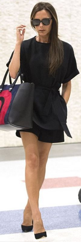 Who made  Victoria Beckham's black sunglasses, black wrap top, red swirl print handbag, and suede pumps that she wore in New York