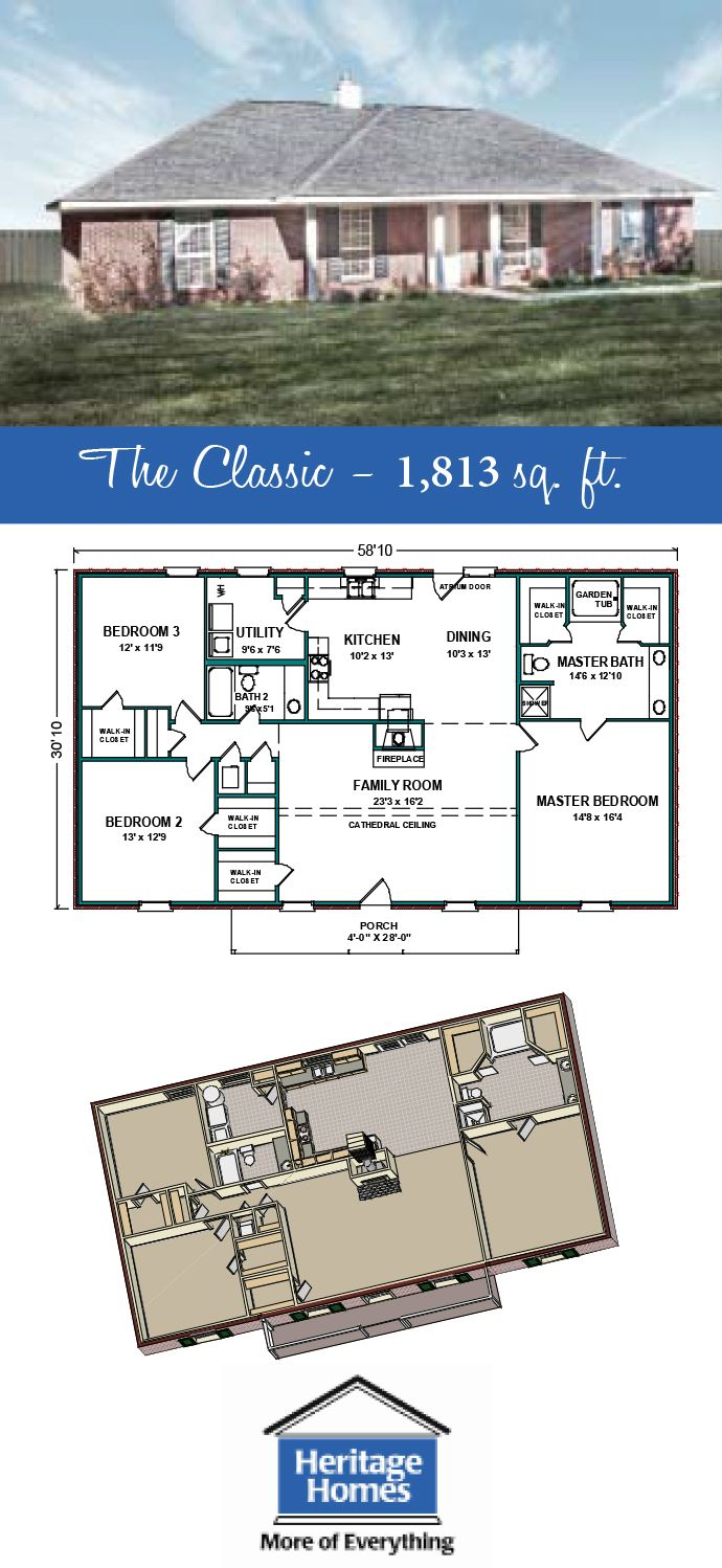1 800 1 900 Sq Ft Floor Plan The Classic I Is 1 813 Square Feet Home With 3 Bed 2 Baths Build This Ne Building Plans House Floor Plans House Floor Plans