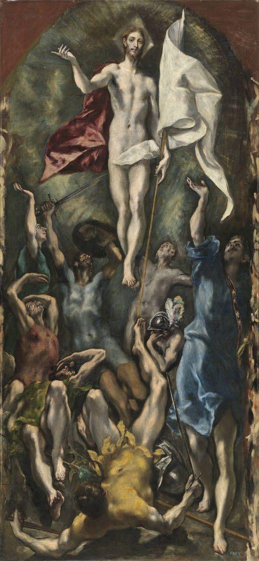 """""""La Resurrección de Cristo"""". El Greco posterior a 1590, realizada al óleo sobre lienzo y con unas dimensiones de 275 x 127 cm. Se encuentra en el Museo Nacional del Prado en España."""