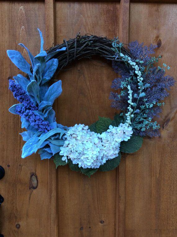 Hydrangea and Lambs Ears Wreath, Door Decor, Hydrangea Flower Wreath, Front Door Thanksgiving Wreath, Autumn Decoration, Made in Canada