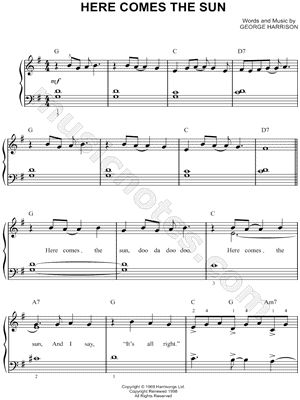 I found digital sheet music (easy piano) for Here Comes the Sun by The Beatles from 1969 at Musicnotes.