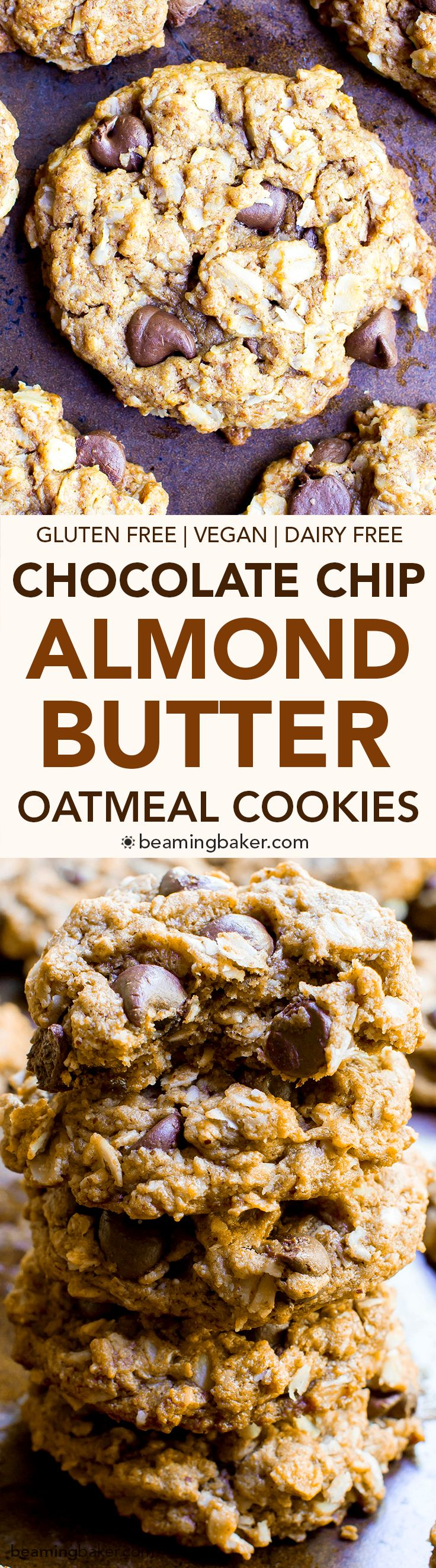 Almond Butter Oatmeal Chocolate Chip Cookies (V+GF): An easy recipe for deliciously simple chocolate chip cookies packed with almond butter, oats and coconut. #Vegan #GlutenFree #DairyFree | BeamingBaker.com