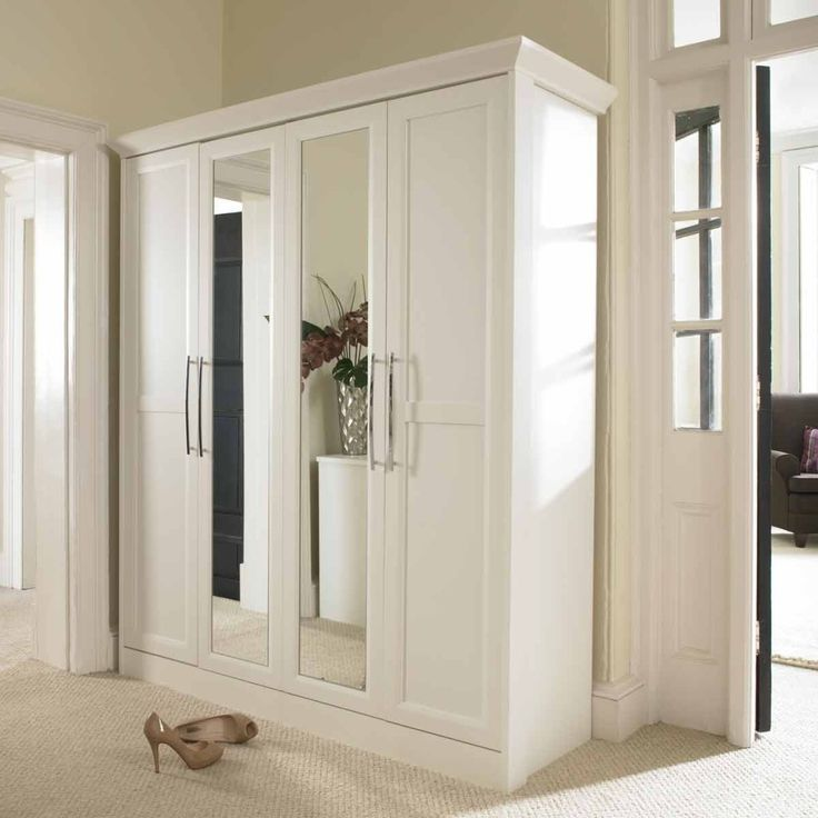 Furniture Plain White Wardrobe Armoire With Mirror And Chrome Handler Set On Corner Bedroom