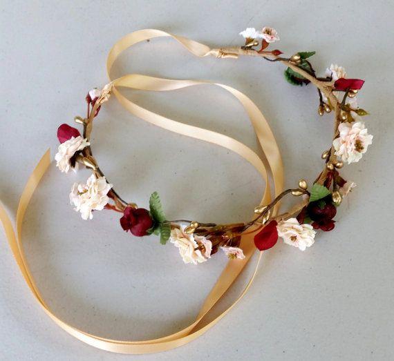 Burgundy gold flower crown Wine Bridal hair wreath headpiece