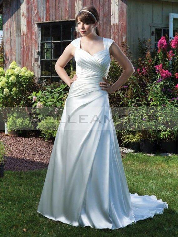 robe de mariée grande taille Glamour Spandex Satin Longue Décolleté en coeur A-Ligne   Mancheron