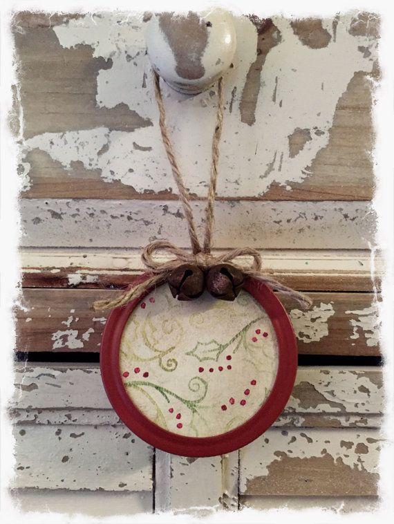 Rustic Primitive Mason Jar Lid Ornament