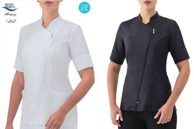 Camice casacca donna con zip manica corta slim fit color black or white giblor's