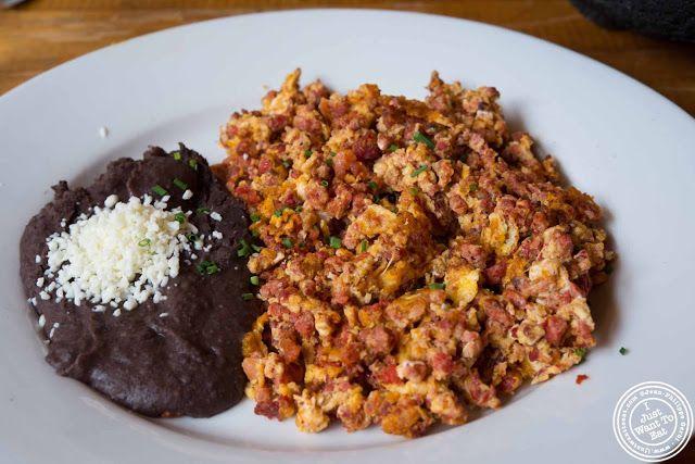 image of Huevos con chorizo at Papatzul Mexican restaurant in Soho, NYC, New York