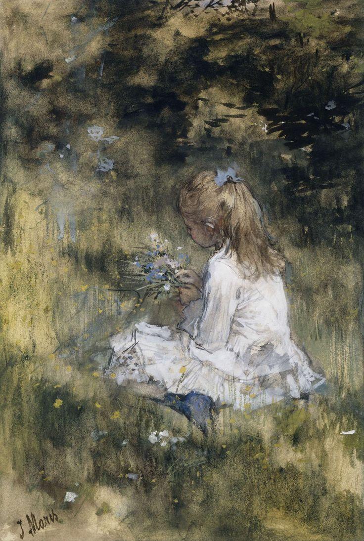 Een meisje met bloemen in het gras, Jacob Maris, 1878