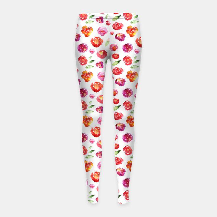 Watercolor flowers Girl's Leggings, Live Heroes