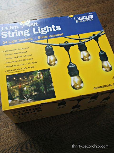 best string lights for outside SO. Enter the rave reviews from all of you about the Costco version. And what do you know…after I got them home I realized they were the Feit brand that reviewer was talking about: