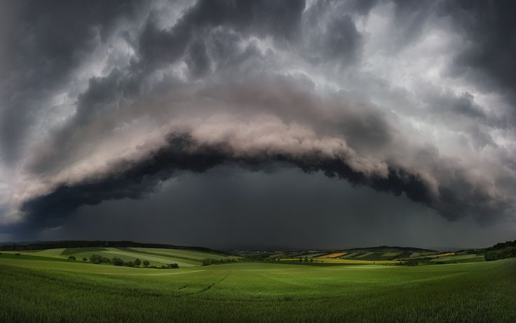 nature, Landscape, Supercell, Storm, Clouds, Field, Hill, Thunder ...