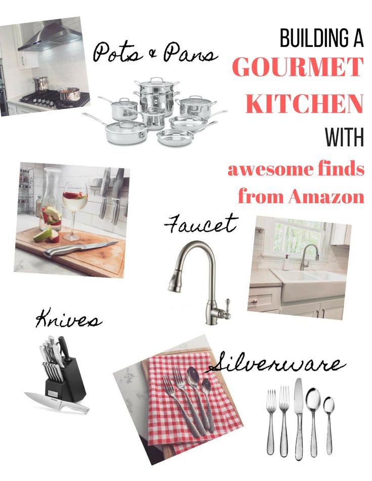 A guide to how we filled our kitchen with gourmet finishes on a budget! Stainless steels pots and pans / cookware, brushed nickel faucet, hammered silverware, stainless steel knives and magnetic knife bar, and more! All with amazon prime! modern all white farmhouse kitchen