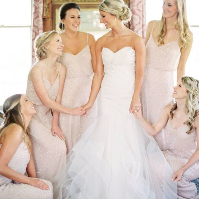 Shop these gorgeous Blush bridesmaid dresses here: https://poshare.com/dresses/adrianna-papell-blush-art-deco-embellished-blouson-gown #bridesmaids #blush #sale Photo by: Nicole Berrett Photography