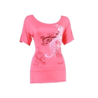 Ladies Low Cut Damask Swirl Design Stretchy Fabric T-Shirt Top £9.95