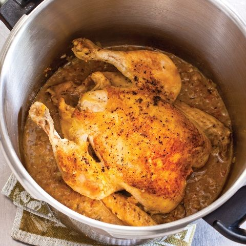 Whole garlic-rosemary chicken in pressure cooker. From America's Test Kitchen, so you know it's good!