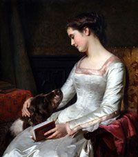 La joven y el perro - Pedro Lira (1845-1912) Chilean