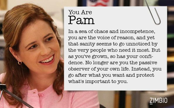 I took Zimbio's 'Office' quiz and I'm Pam! Who are you? Words cannot describe how happy this makes me...
