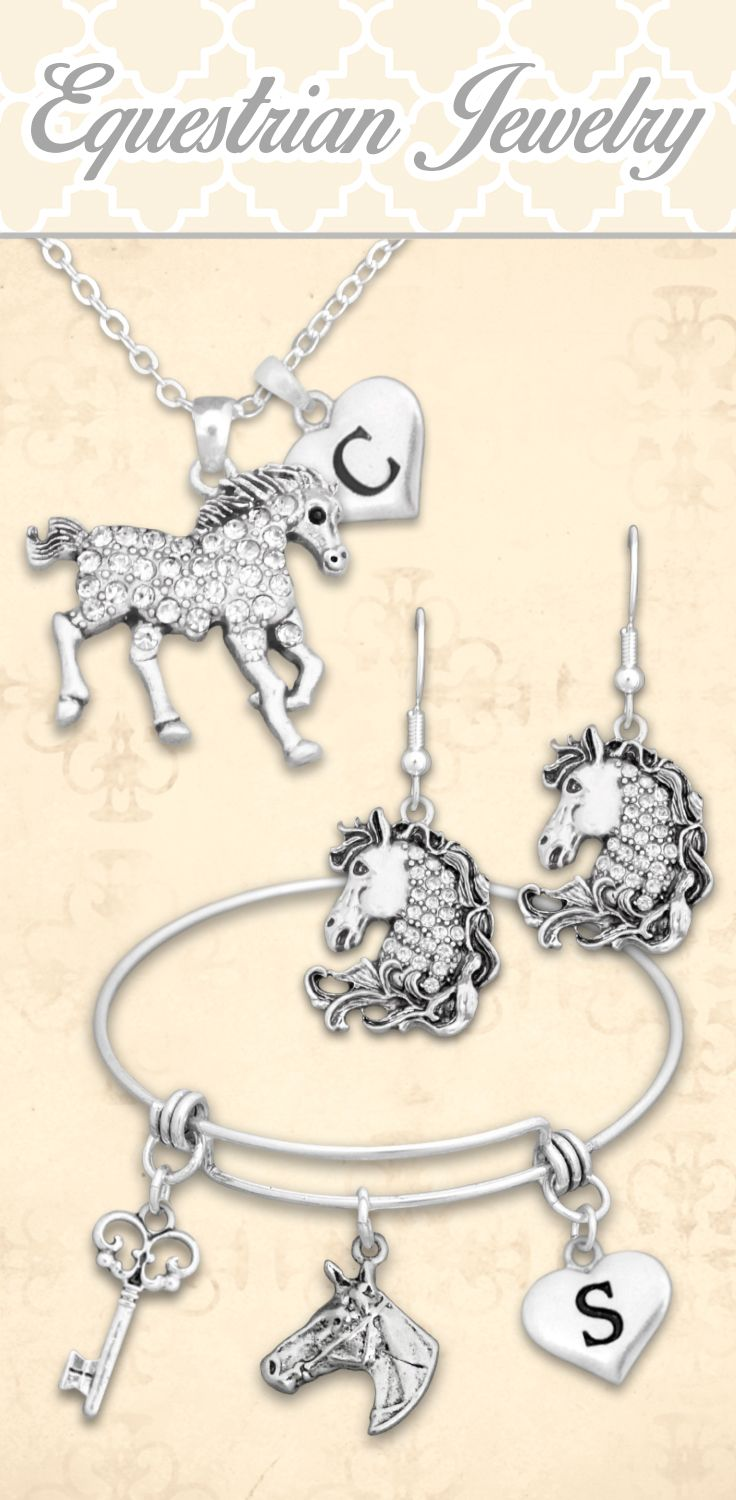 Equestrian jewelry - $9.98! Customize with initials, loved ones, and more! // Awesome gift for cowgirls :)